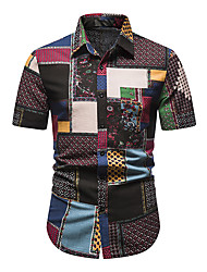 cheap -Men's Shirt Other Prints Abstract Short Sleeve Daily Tops 100% Cotton Green / Red