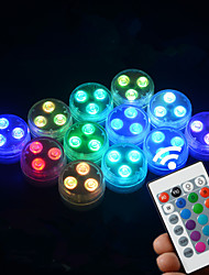 cheap -Outdoor Submersible Light Remote Controlled RGB Light Battery IP68 Waterproof Underwater Night Lamp for Outdoor Vase Bowl Garden Party Decoration Lights 6X 12X with 1 Free Remote Controller