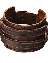 cheap -Brown Leather Men's Cuff Bracelet