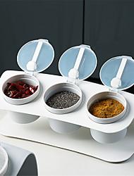 cheap -Seasoning Box Three-compartment Set Kitchen Combination Plastic Salt Shaker Seasoning Storage Box Moisture-proof