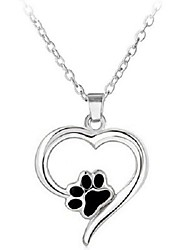 """cheap -s925 sterling silver puppy dog cat pet paw print love heart pendant necklace 18"""""""