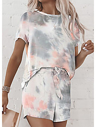 cheap -Women's Basic Streetwear Tie Dye Casual / Daily Outdoor Two Piece Set Tracksuit T shirt Loungewear Shorts Drawstring Print Tops