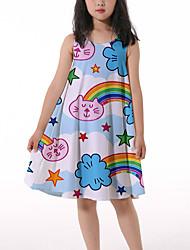 cheap -Kids Little Girls' Dress Cat Rainbow Graphic Ruched Print Light Blue Knee-length Sleeveless 3D Print Cute Dresses Loose 4-13 Years