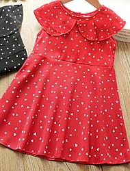 cheap -Kids Toddler Little Girls' Dress Polka Dot Print Black Red Knee-length Sleeveless Basic Dresses Summer Regular Fit 2-12 Years