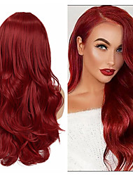 cheap -Synthetic Wig Deep Wave Middle Part Wig Medium Length A15 A16 A17 A18 A19 Synthetic Hair Women's Cosplay Party Fashion Red Pink