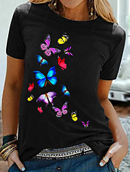 cheap -Women's T shirt Graphic Butterfly Print Round Neck Tops 100% Cotton Basic Basic Top Black