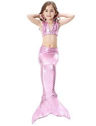 cheap -Kids Girls' Swimwear Bikini 3pcs Swimsuit Mermaid Tail The Little Mermaid Mixed Color  Sleeveless Blue Purple Blushing Pink Sports Beach Costumes Princess Cute Bathing Suits 3-10 Years