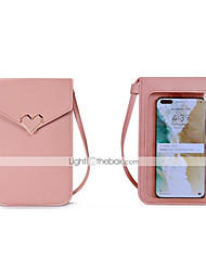 cheap -Women's Bags Synthetic Mobile Phone Bag Messenger Bag Plain Daily 2021 MessengerBag Wine Black Blue Red
