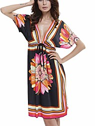 cheap -greatestpak womens 2019 new v-neck sexy slim fashion flower print long sleeve beach dresses black