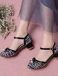 cheap -Women's Heels Chunky Heel Round Toe PU Synthetics Bowknot Imitation Pearl Camouflage Black Pink Beige