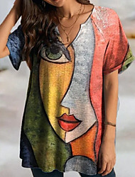 cheap -Women's T Shirt Dress Tee Dress Short Mini Dress Red Short Sleeve Print Print Fall Spring V Neck Casual 2021 S M L XL XXL 3XL