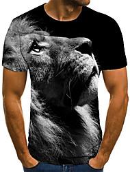cheap -Men's T shirt 3D Print Animal 3D Print Print Short Sleeve Casual Tops Casual Fashion Black / White