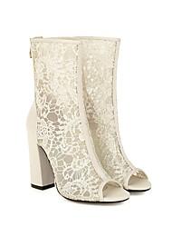 cheap -Women's Wedding Shoes Chunky Heel Peep Toe Wedding Pumps PU Synthetics Black Beige