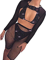 cheap -sparkly sequins bikini sets rhinestone crystal sexy swimwear beach bra suit nightclub party festival body accessories jewelry for women and girls (black)