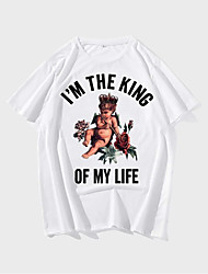 cheap -Men's T shirt Hot Stamping Graphic Prints Letter Print Short Sleeve Daily Tops 100% Cotton Fashion Vintage Classic White
