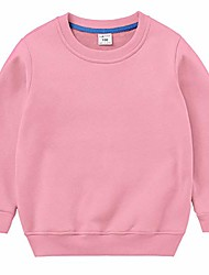 cheap -kids boys girls crewneck sweatshirts cotton pullover t-shirts toddler solid color fleeced lined long sleeve tops pink 5t