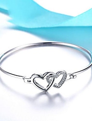 cheap -Women's Bracelet 3D Heart Fashion Copper Bracelet Jewelry Silver For Christmas Wedding Party Evening Gift Date / Silver Plated