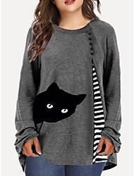 cheap -Women's Plus Size Tops T shirt Striped Cat Animal Large Size Crewneck Long Sleeve Basic Big Size XL 2XL 3XL 4XL 5XL Blue Wine Dark Blue / 100% Cotton