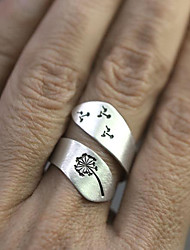 cheap -Ring Classic Silver Alloy Flower Flower Shape Personalized Stylish Simple 1pc Adjustable / Women's / Couple's / Open Cuff Ring / Adjustable Ring
