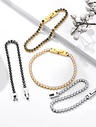 cheap -Women's AAA Cubic Zirconia Chain Bracelet Tennis Bracelet Tennis Chain Fashion Fashion Trendy Titanium Steel Bracelet Jewelry Gold / Silver For Gift Date Birthday Festival
