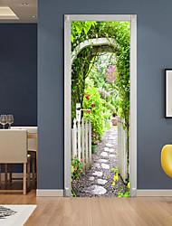 "cheap -3D 2pcs Self-adhesive Creative Door Stickers Living Room Bedroom Diy Decorative Home Waterproof Wall Stickers 77x200cm 30.3""x78.7""(77x200cm), 2 PCS Set Wall Stickers for bedroom living room"