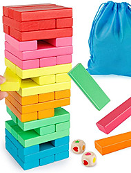cheap -Wooden Blocks Stacking Game with Storage Bag Toppling Colorful Tower Building Blocks Balancing Puzzles Toys Learning Educational Sorting Family Games Montessori Toys Gifts for Kids
