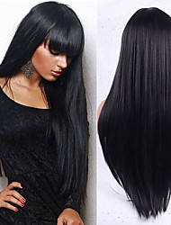 cheap -Synthetic Wig Natural Straight Neat Bang Wig Medium Length A15 A16 A17 A18 A10 Synthetic Hair Women's Cosplay Party Fashion Black Brown