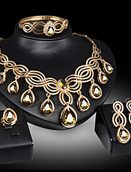 cheap -Women's Jewelry Set Bridal Jewelry Sets Cut Out Precious Pear Fashion Rhinestone Gold Plated Earrings Jewelry Yellow / Red For Christmas Wedding Halloween Party Evening Gift 1 set