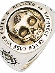 cheap -Skull Silver Color Rings for Man Vintage Punk Fashion Jewelry Hippop Street Culture Rings