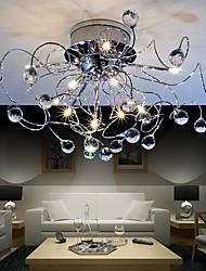 cheap -56cm Crystal Ceiling Light Flush Mount Lights Metal Chrome LED Nordic Style 9 Heads 110-120V 220-240V