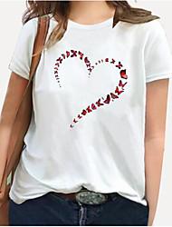 cheap -Women's Plus Size Tops T shirt Print Floral Graphic Heart Large Size Round Neck Short Sleeve Big Size XL XXL 3XL 4XL 5XL White Black Blue / 100% Cotton