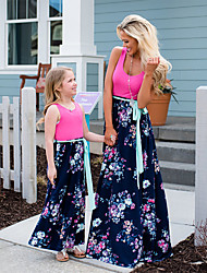 cheap -Mommy and Me Dress Graphic Print Blushing Pink Sleeveless Maxi Matching Outfits