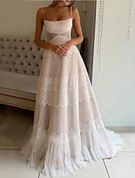 cheap -A-Line Wedding Dresses Bateau Neck Spaghetti Strap Sweep / Brush Train Lace Sleeveless Romantic with Pleats Appliques 2021