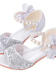 cheap -Girls' Sandals Flower Girl Shoes Princess Shoes School Shoes Rubber PU Little Kids(4-7ys) Big Kids(7years +) Daily Party & Evening Walking Shoes Rhinestone Sparkling Glitter Buckle Pink Silver Fall