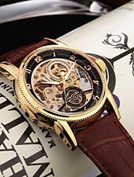cheap -Men's Mechanical Watch Analog Automatic self-winding Hollow Engraving / One Year / PU Leather