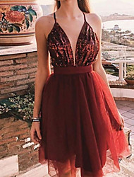 cheap -A-Line Beautiful Back Sexy Homecoming Cocktail Party Dress Spaghetti Strap Sleeveless Short / Mini Sequined with Pleats 2021