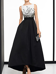 cheap -A-Line Beautiful Back Elegant Wedding Guest Formal Evening Dress Boat Neck Sleeveless Asymmetrical Satin with Appliques 2021
