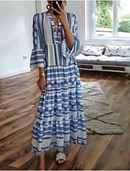cheap -Women's Swing Dress Maxi long Dress Blue 3/4 Length Sleeve Geometric Print Spring Summer V Neck Boho Flare Cuff Sleeve 2021 S M L XL XXL 3XL