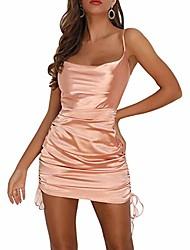 cheap -women's sexy satin silk sleeveless spaghetti strap drawstring ruched bodycon mini party night club dresses (champagne, m)