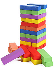 cheap -Wood Building BlocksStacked Game Stacking Height Inverted Tower Mixed Colors (48 PCS)