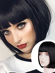 cheap -Natural Straight Short Black Gold Wig Headgear Chemical Fiber Short Hair Bob Head Student Head With Bangs Classic Wig Hair Cover