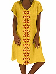cheap -Women's Loose Knee Length Dress Wine ArmyGreen Blue Yellow khaki Orange Black Short Sleeve Solid Color Spring & Summer Natural S M L XL 2XL 3XL 4XL 5XL / Cotton / Cotton