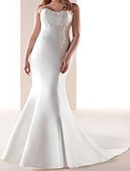 cheap -Mermaid / Trumpet Wedding Dresses Strapless Sweep / Brush Train Italy Satin Sleeveless Romantic Simple with Appliques 2021