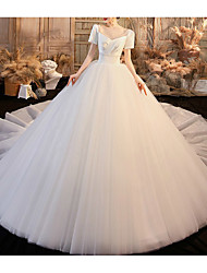 cheap -Princess Ball Gown Wedding Dresses V Neck Chapel Train Satin Tulle Short Sleeve Formal Luxurious with Side-Draped 2021