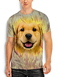 cheap -Men's T shirt 3D Print Graphic Animal 3D Print Short Sleeve Daily Tops Basic Casual Brown