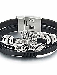 cheap -mens multi-strand black leather bangle wrap wristband bracelet with vintage scorpion and beads