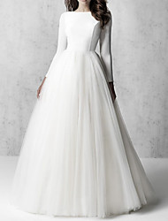 cheap -A-Line Wedding Dresses Jewel Neck Floor Length Tulle Italy Satin Long Sleeve Country Simple with 2021