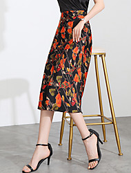 cheap -Women's Date Weekend Streetwear Sophisticated Skirts Graphic Floral Flower Embroidered Red Yellow Navy Blue