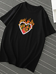 cheap -Men's Unisex T shirt Hot Stamping Heart Plus Size Print Short Sleeve Casual Tops 100% Cotton Basic Casual Fashion Black