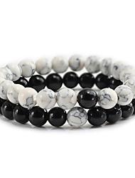 cheap -Men's Bead Bracelet Beads Fashion Trendy Stone Bracelet Jewelry Black+White / White / Black For Gift Festival